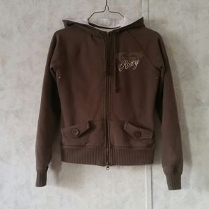 FREE shipping!🎉Brown Roxy zip up sweater